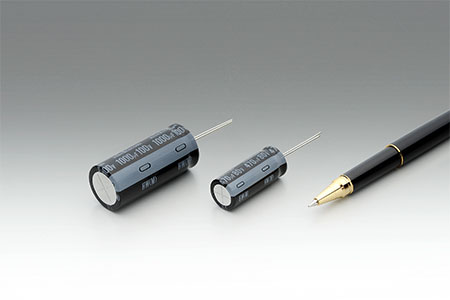Long-life, compact, low impedance radial lead type aluminum electrolytic capacitors